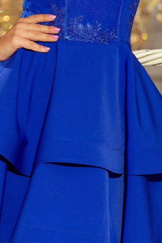 Podwójnie rozkloszowana sukienka z haftowaną górą Devi - Chabrowa - numoco 206-1
