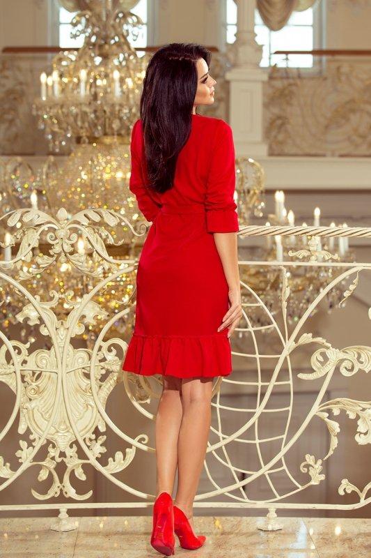 Sukienka z falbankami i paskiem Maya - Czerwona - numoco 193-6