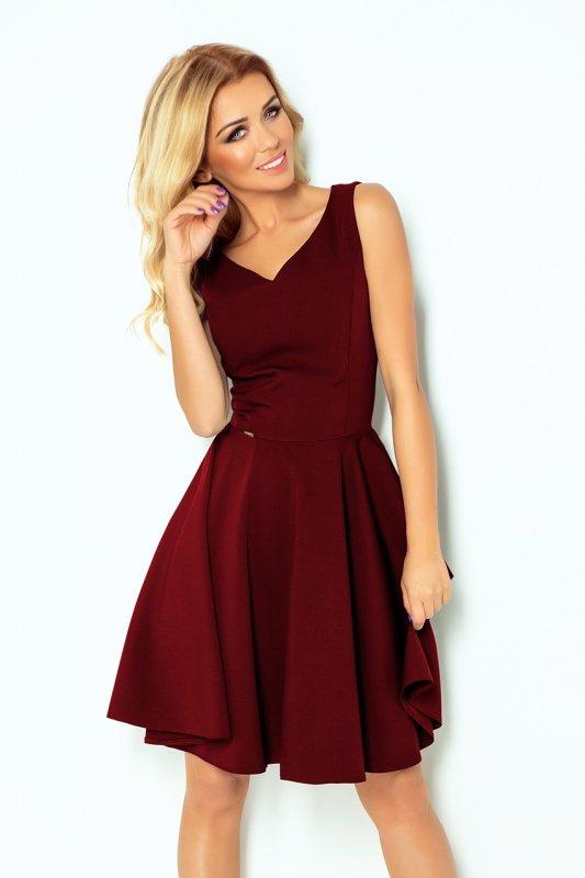 Rozkloszowana sukienka - dekolt w kształcie serca - Bordowa - numoco 114-11