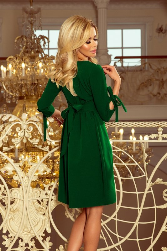 Sukienka z kokardkami Alicja - Jasny Zielony - numoco 195-7