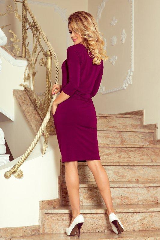 Sukienka z wiązanym dekoltem Janet - Śliwka - numoco 230-1
