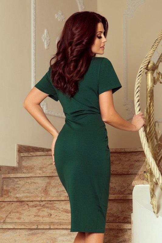 Sukienka midi z krótkim rękawkiem Vera - Zieleń Butelkowa - numoco 248-1