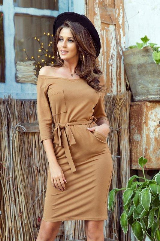 Sukienka z kieszonką - Karmelowa - numoco - 278-3