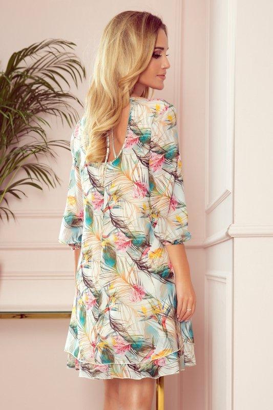 Szyfonowa sukienka z dekoltem na plecach Ivette - Kolorowe  Pióra- StreetStyle 303-1