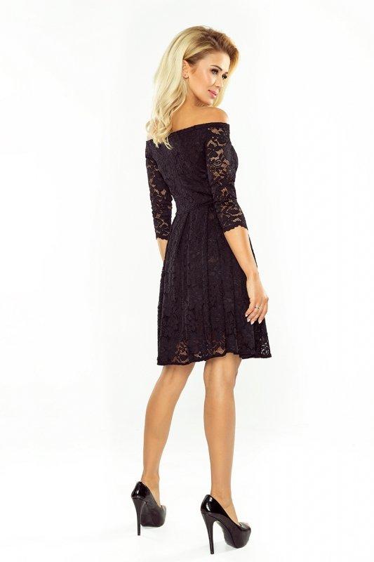 Sukienka z odkrytymi ramionami - kontrafałda - Koronka Czarna - numoco 168-1