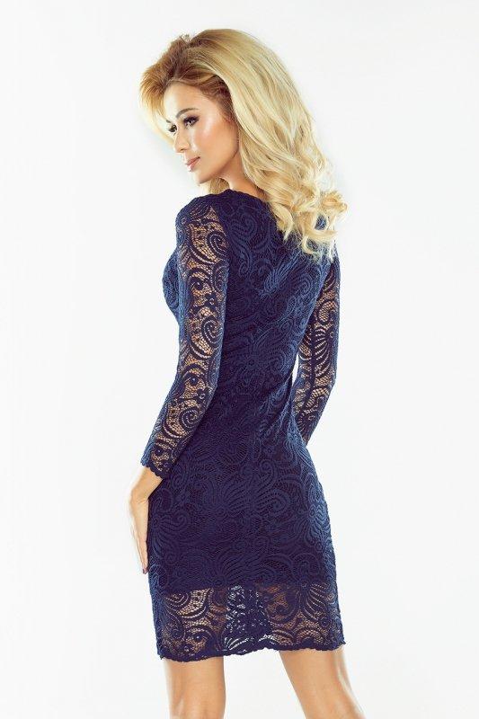 Sukienka koronkowa dopasowana - Granatowa - numoco 174-1