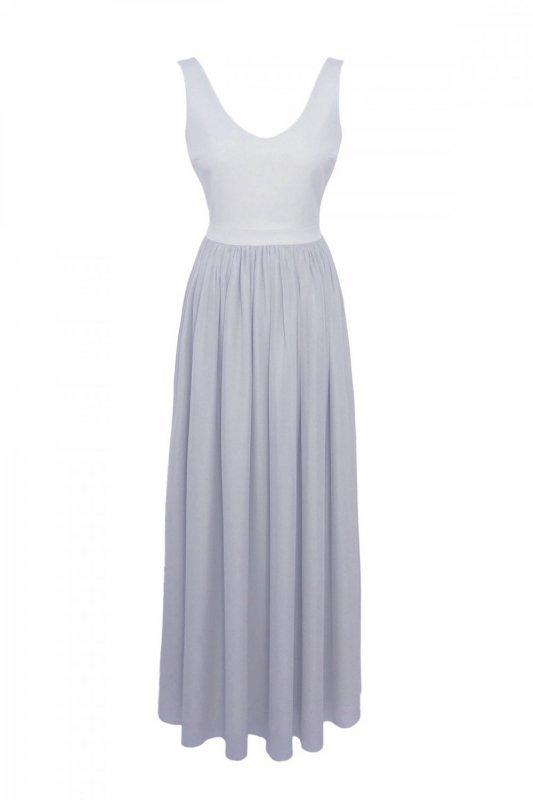 Długa sukienka na szerokich ramiączkach Andrea  - Szara - Ivon