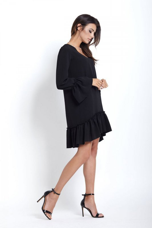 Sukienka z falbaną Aurelia - Czarna - Ivon