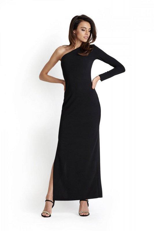 Maxi sukienka na jedną rękę - Luisa - Czarna - Ivon