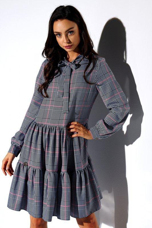 Sukienka z kokardą przy szyi wzory- StreetStyle  LG515