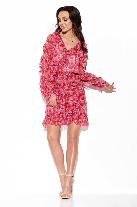 Szyfonowa sukienka z jedwabiem i falbankami wzór - StreetStyle LG517- druk 17