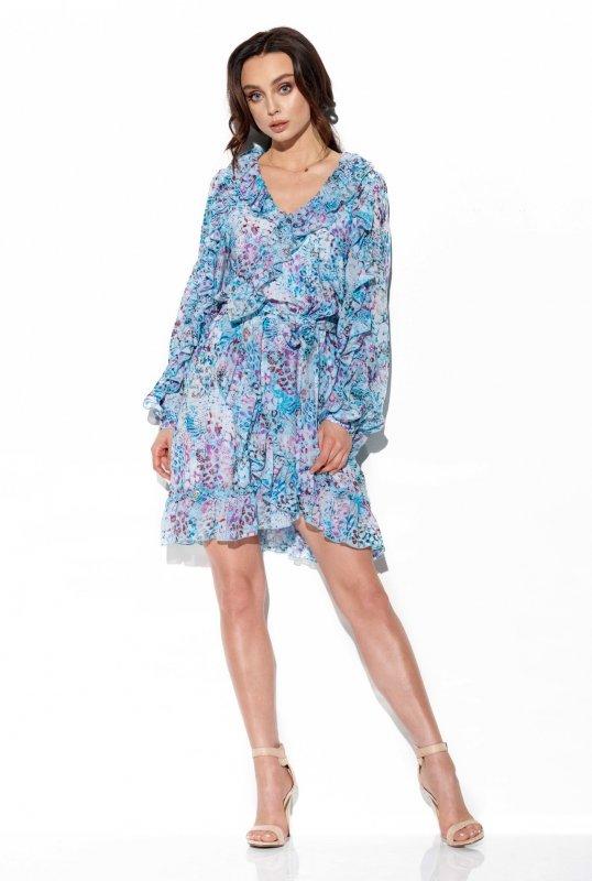 Szyfonowa sukienka z jedwabiem i falbankami wzór - StreetStyle LG517- druk 14