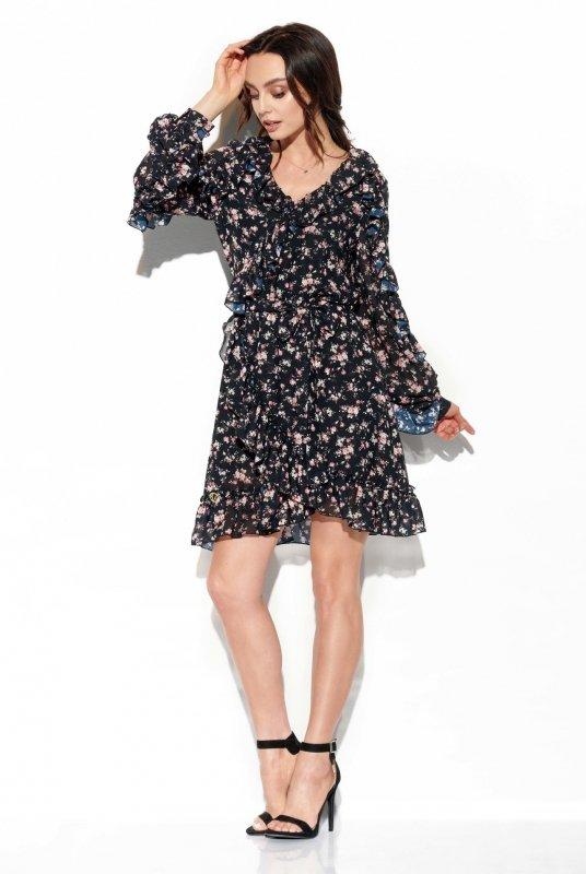Szyfonowa sukienka z jedwabiem i falbankami wzór - StreetStyle LG517- druk 15