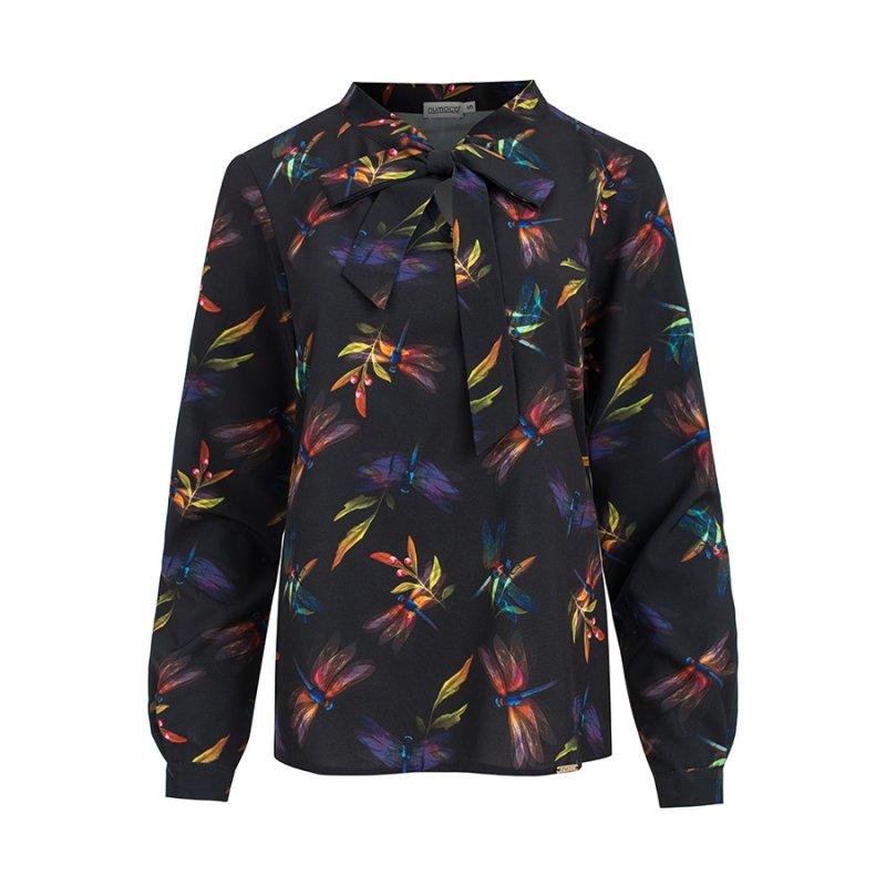 Bluzka z wiązaniem z przodu kolorowe ważki - Granatowa - numoco 140-10