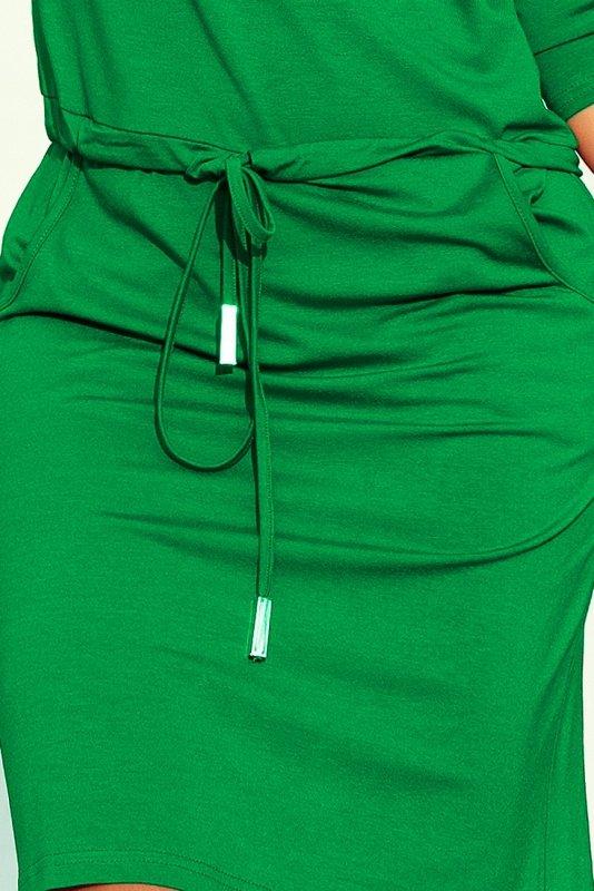 Sukienka sportowa z wiązaniem i kieszonkami - Zieleń