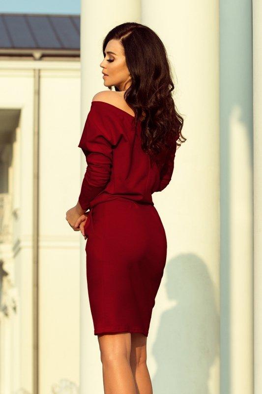 Sukienka dresowa z dekoltem na plecach - Bordowa