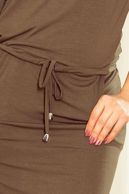 Sukienka z wiązanym dekoltem Janet - Khaki