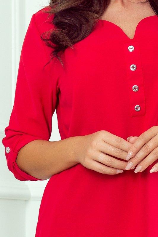 Bluzka z guzikami - Czerwona - numoco 259-1