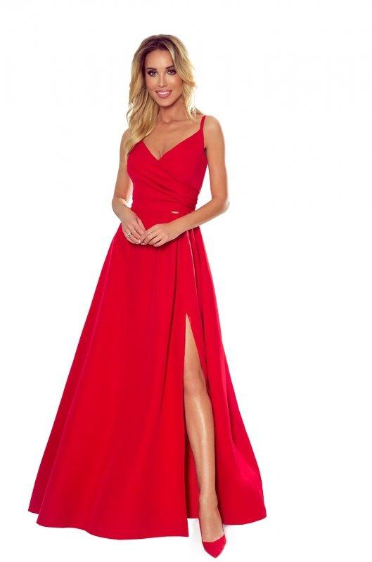 CHIARA elegancka maxi suknia na ramiączkach - CZERWONA  - 7