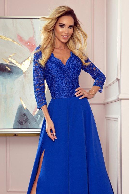 AMBER elegancka koronkowa długa suknia z dekoltem - CHABROWA