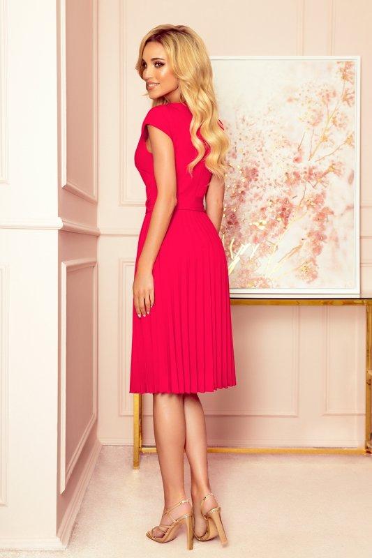 LILA Plisowana sukienka z krótkim rękawkiem - kolor MALINOWY -2