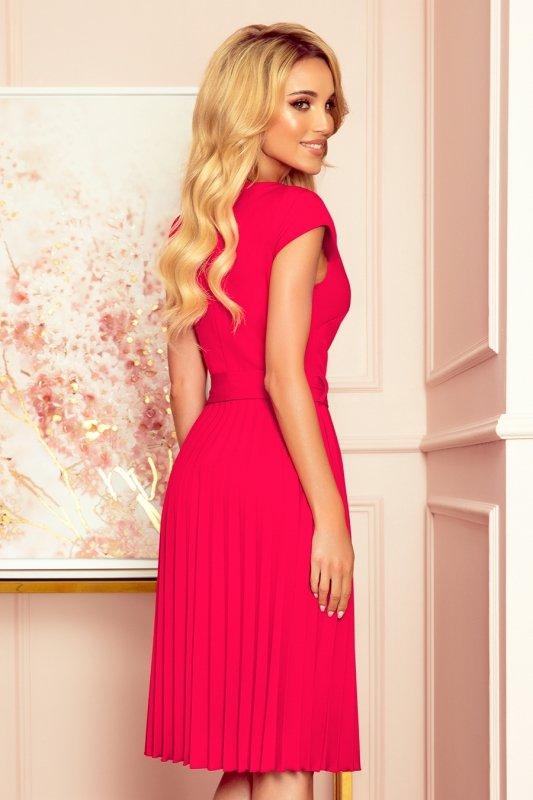 LILA Plisowana sukienka z krótkim rękawkiem - kolor MALINOWY -4