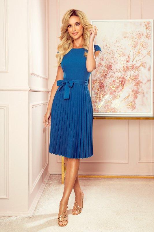 LILA Plisowana sukienka z krótkim rękawkiem - kolor Morski - 6