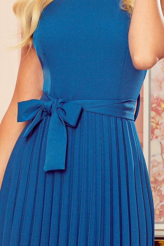 LILA Plisowana sukienka z krótkim rękawkiem - kolor Morski - 7