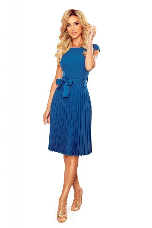 LILA Plisowana sukienka z krótkim rękawkiem - kolor Morski - 8