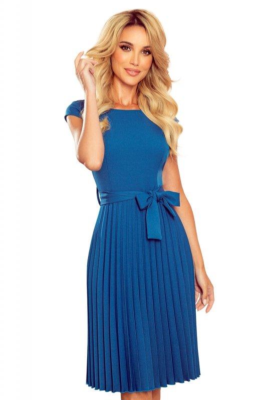 LILA Plisowana sukienka z krótkim rękawkiem - kolor Morski - 9