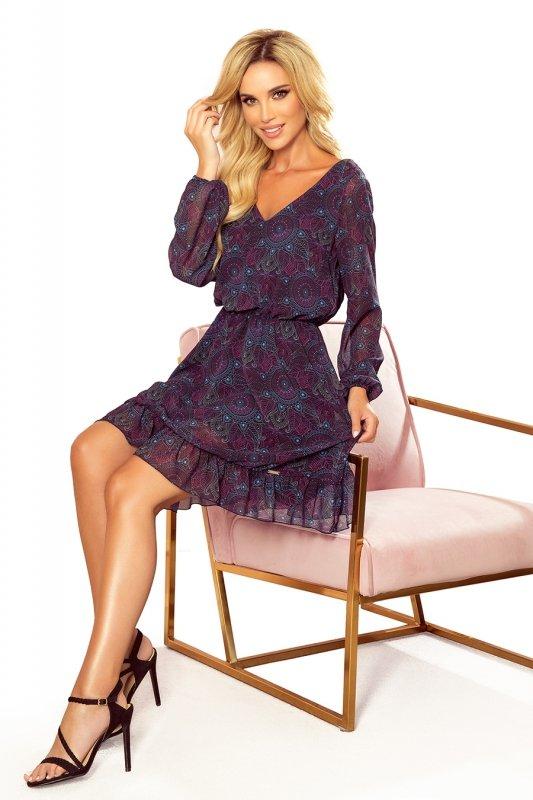 BAKARI zwiewna szyfonowa sukienka z dekoltem - różowo-niebieskie mandale- 9
