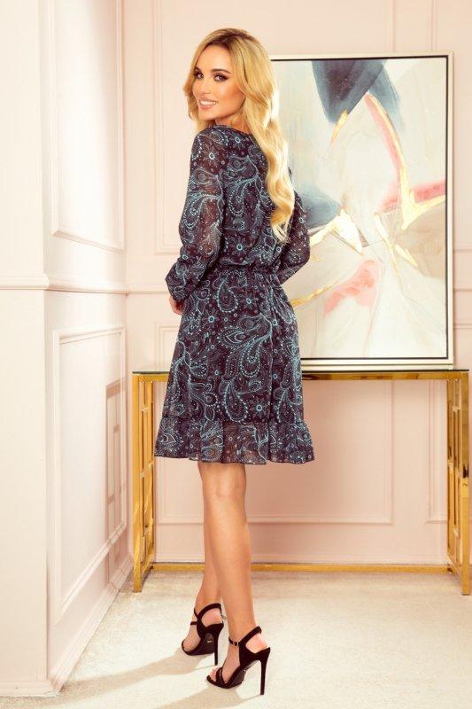 Bakari zwiewna szyfonowa sukienka z dekoltem - Turkusowy wzór-2