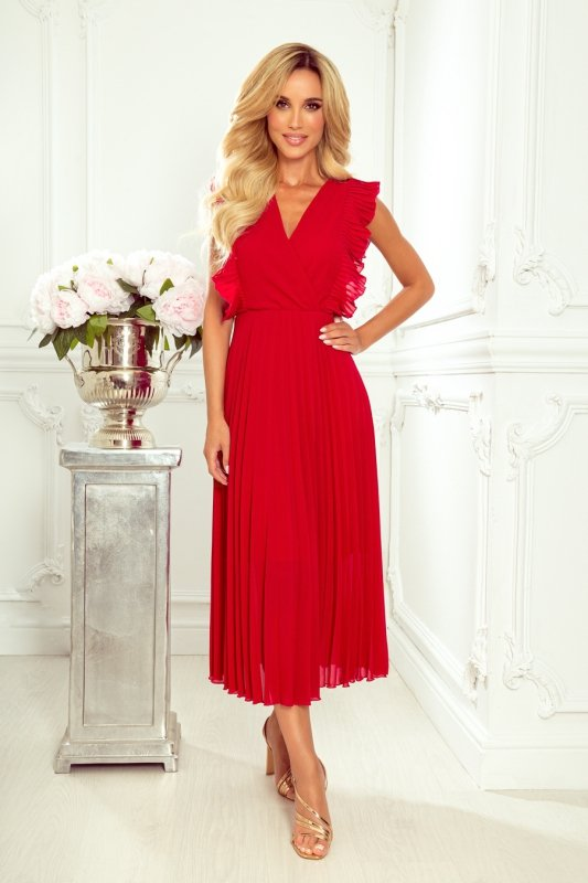 EMILY Plisowana sukienka z falbankami i dekoltem - CZERWONA -3