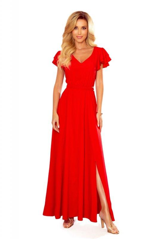 LIDIA długa sukienka z dekoltem i falbankami - CZERWONA