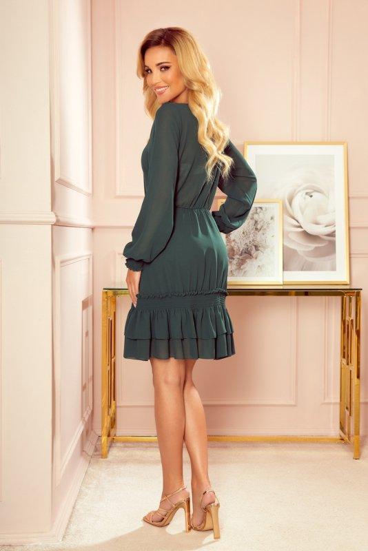 Szyfonowa sukienka z marszczonymi gumkami - Zieleń Butelkowa -2