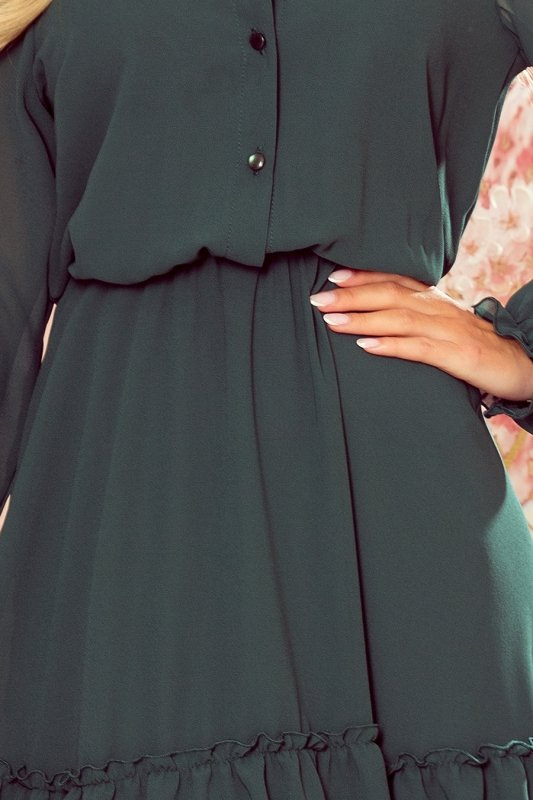 TRACY Szyfonowa sukienka z guzikami - ZIELEŃ BUTELKOWA - 5