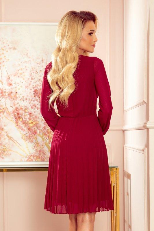 ISABELLE Plisowana sukienka z dekoltem i długim rękawkiem - BORDOWA