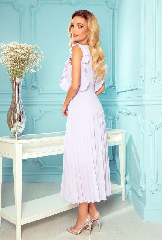 EMILY plisowana sukienka z falbankami i dekoltem - WRZOS