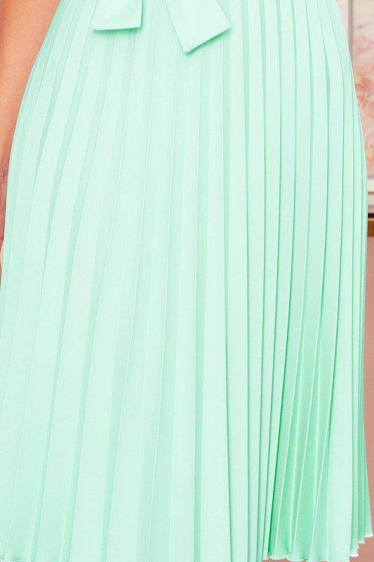 LILA Plisowana sukienka z krótkim rękawkiem - MIĘTA