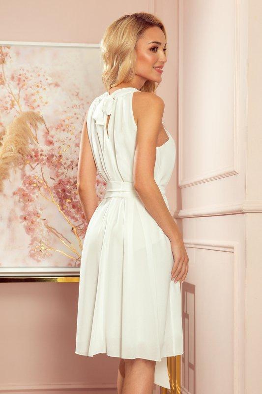 ALIZEE - szyfonowa sukienka z wiązaniem - ECRU - 4