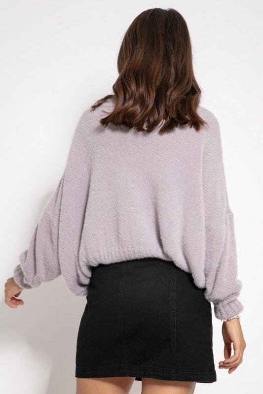 Luźny sweter z dekoltem F1066- fiolet -8