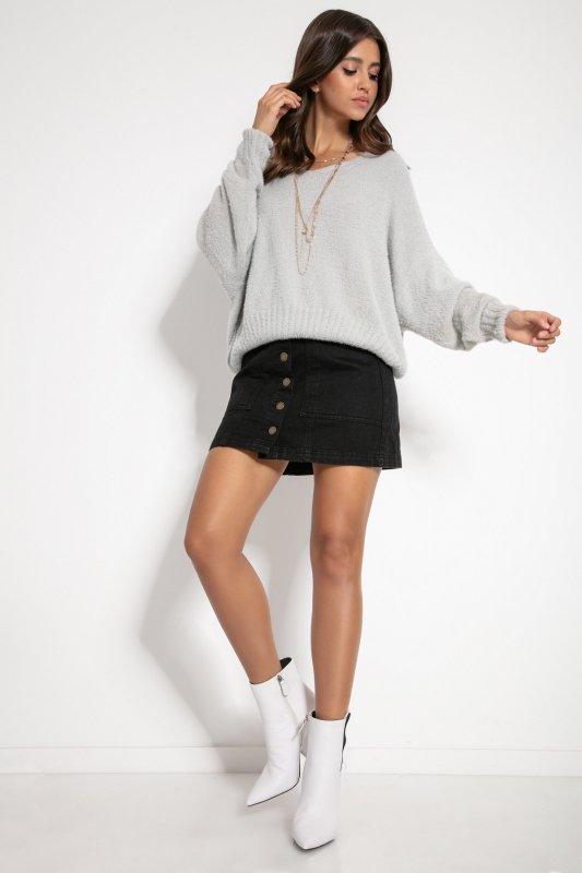 Luźny sweter z dekoltem F1066-szary -3