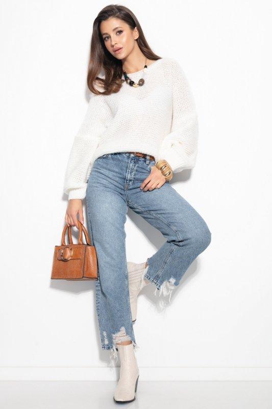 Luźny sweter o oversizowym kroju - F1102-szary-4
