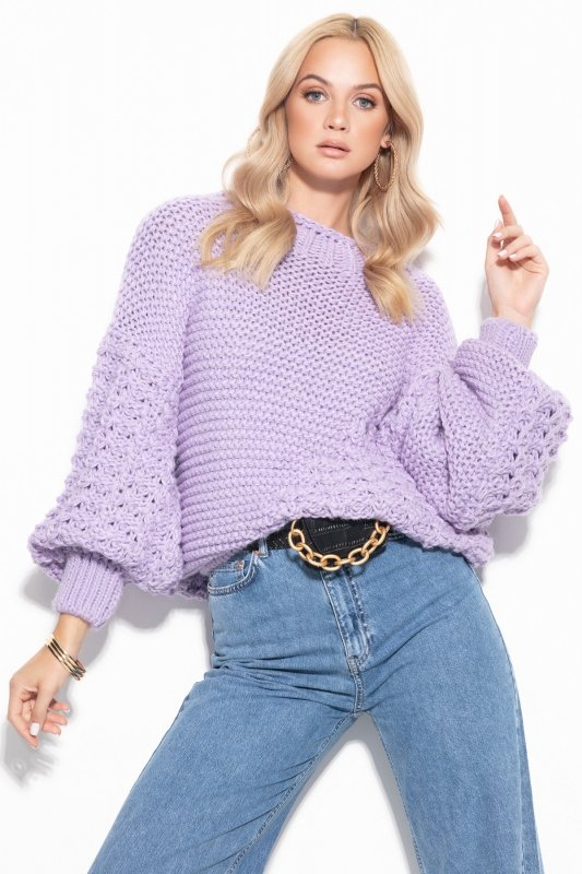 Sweter Chunky Knit F1125 - Fiolet -3