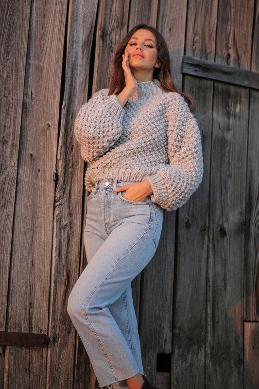 Sweter Chunky Knit F1135 - Szary - StreetStyle.net.pl - 5