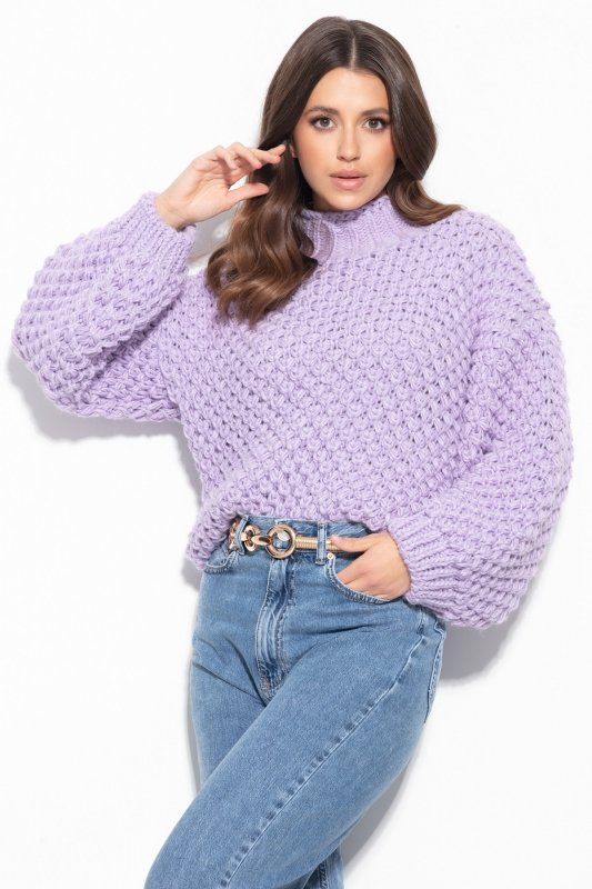 Sweter Chunky Knit F1135 - Fiolet - StreetStyle.net.pl - 3