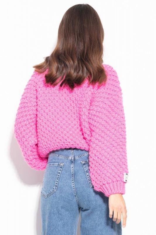 Sweter Chunky Knit F1135 - Różowy - StreetStyle.net.pl - 4
