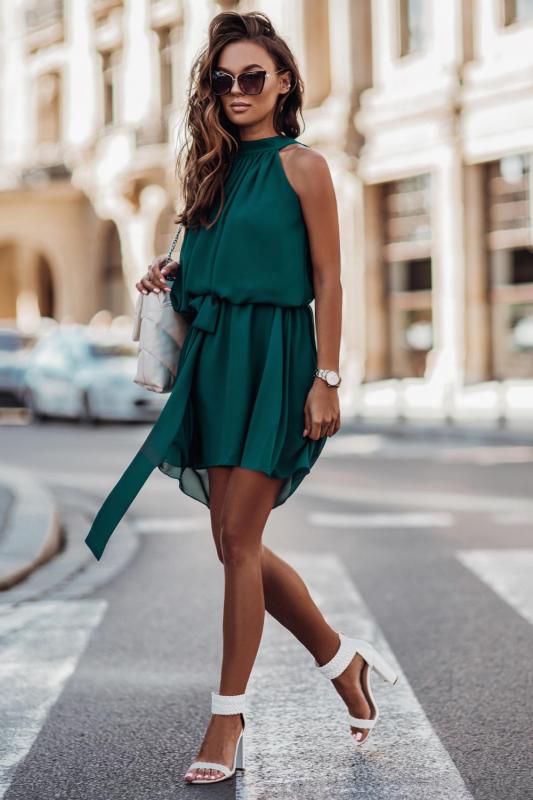 Zwiewna szyfonowa sukienka Livia - Zielona - Ivon