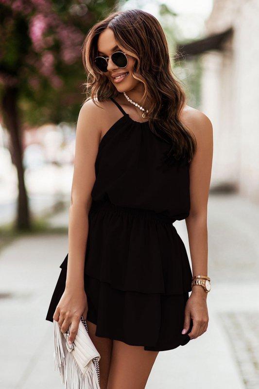 Komplet Costa - bluzka i spódnica z falbanami - czarny_2