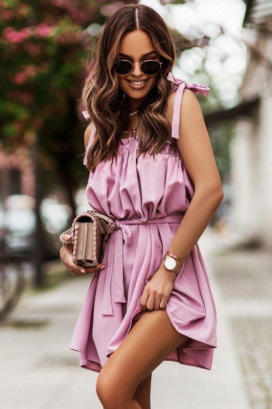 Sukienka ANDI z wiązaniami na ramionach - Róż_4